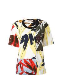 mehrfarbiges T-Shirt mit einem Rundhalsausschnitt