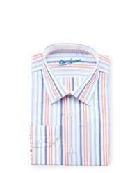 mehrfarbiges vertikal gestreiftes Businesshemd