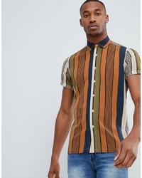 mehrfarbiges vertikal gestreiftes Kurzarmhemd