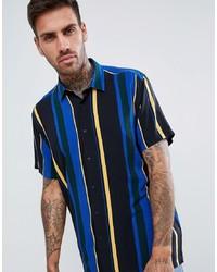 mehrfarbiges vertikal gestreiftes Kurzarmhemd von ASOS DESIGN