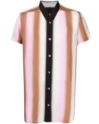 mehrfarbiges vertikal gestreiftes Kurzarmhemd von Rick Owens