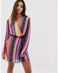 mehrfarbiges vertikal gestreiftes Wickelkleid aus Pailletten von Club L London