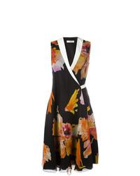 mehrfarbiges Wickelkleid mit Blumenmuster von Lanvin