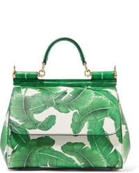 mintgrüne bedruckte Shopper Tasche aus Leder von Dolce & Gabbana