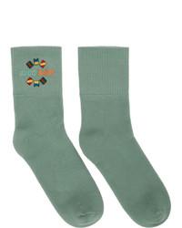 mintgrüne bedruckte Socken von Gucci