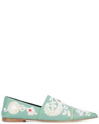 mintgrüne bestickte Leder Slipper von Etro