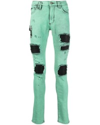 mintgrüne enge Jeans mit Destroyed-Effekten von Philipp Plein