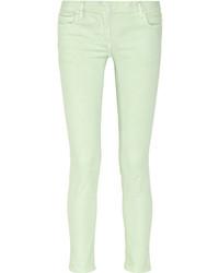 mintgrüne enge Jeans