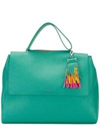 mintgrüne Shopper Tasche aus Leder mit Fransen von Orciani