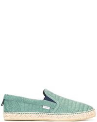 mintgrüne Leder Espadrilles von Jimmy Choo