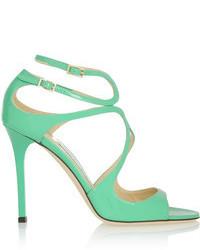 mintgrüne Leder Sandaletten