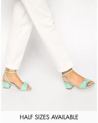 mintgrüne Leder Sandaletten von Asos