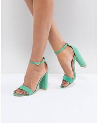 mintgrüne Leder Sandaletten von Glamorous