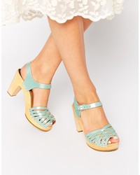 mintgrüne Leder Sandaletten von Swedish Hasbeens