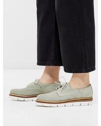 mintgrüne Wildleder Oxford Schuhe von Bianco