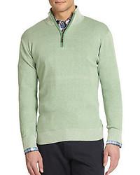mintgrüner Pullover mit einem Reißverschluss am Kragen