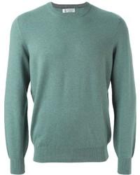 mintgrüner Pullover mit einem Rundhalsausschnitt