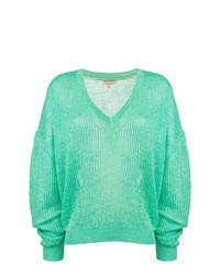 mintgrüner Pullover mit einem V-Ausschnitt von Burberry
