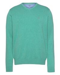 mintgrüner Pullover mit einem V-Ausschnitt von Fynch Hatton
