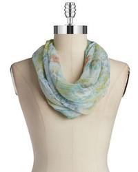 mintgrüner Schal mit Blumenmuster