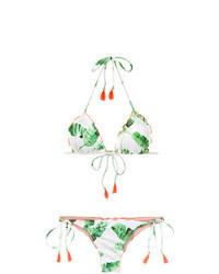 mintgrünes bedrucktes Bikinioberteil