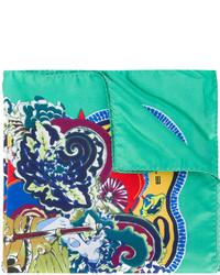 mintgrünes bedrucktes Seide Einstecktuch von Etro