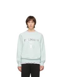 mintgrünes bedrucktes Sweatshirt von Balmain