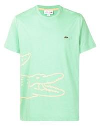 mintgrünes bedrucktes T-Shirt mit einem Rundhalsausschnitt von Lacoste