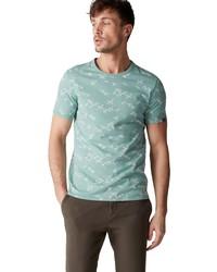 mintgrünes bedrucktes T-Shirt mit einem Rundhalsausschnitt von Marc O'Polo