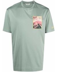 mintgrünes bedrucktes T-Shirt mit einem Rundhalsausschnitt von Z Zegna