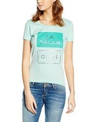 mintgrünes bedrucktes T-shirt von GUESS
