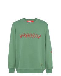 mintgrünes besticktes Sweatshirt