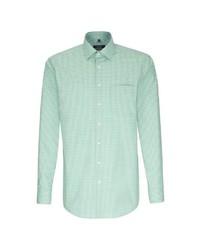 mintgrünes Businesshemd mit Vichy-Muster von Seidensticker