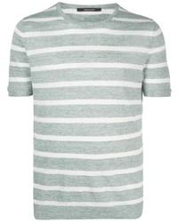 mintgrünes horizontal gestreiftes T-Shirt mit einem Rundhalsausschnitt von Tagliatore