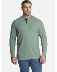 mintgrünes Langarmshirt mit einer Knopfleiste von Charles Colby