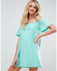 mintgrünes schulterfreies Kleid von Asos