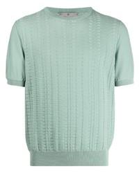mintgrünes Strick T-Shirt mit einem Rundhalsausschnitt von Canali