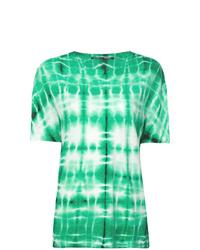 mintgrünes T-Shirt mit einem Rundhalsausschnitt mit Batikmuster