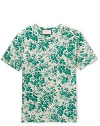 mintgrünes T-Shirt mit einem Rundhalsausschnitt mit Blumenmuster von Gucci