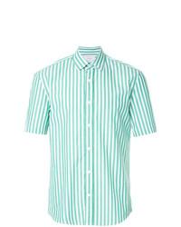 mintgrünes vertikal gestreiftes Kurzarmhemd