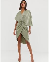 mintgrünes Wickelkleid von ASOS DESIGN