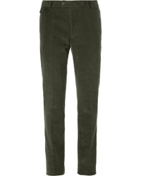 olivgrüne Anzughose aus Cord
