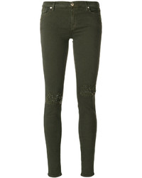 olivgrüne Baumwolle enge Jeans mit Destroyed-Effekten von 7 For All Mankind