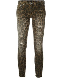 olivgrüne bedruckte enge Jeans aus Baumwolle von R 13