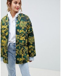 olivgrüne bedruckte Jacke mit einer offenen Front von ASOS DESIGN