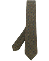 olivgrüne bedruckte Krawatte von Kiton
