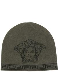 olivgrüne bedruckte Mütze von Versace
