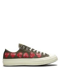 olivgrüne bedruckte Segeltuch niedrige Sneakers von Converse