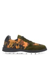 olivgrüne bedruckte Segeltuch niedrige Sneakers von Etro
