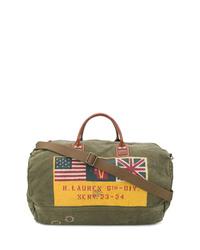 olivgrüne bedruckte Segeltuch Sporttasche von Polo Ralph Lauren